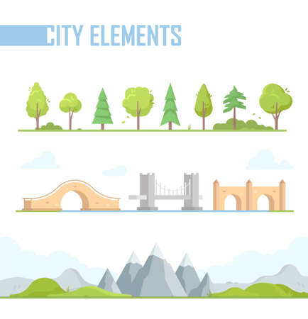 Set of city elements