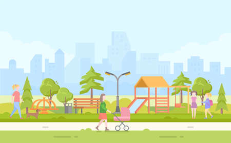 City children playground - modern cartoon vector illustration with skyscrapers in the background.