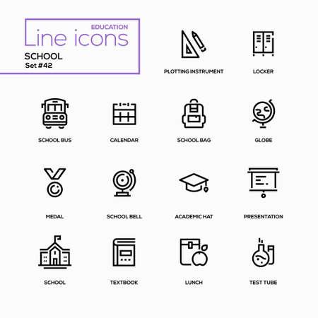 School line design icons set
