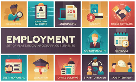 Employment set of flat design element Çizim