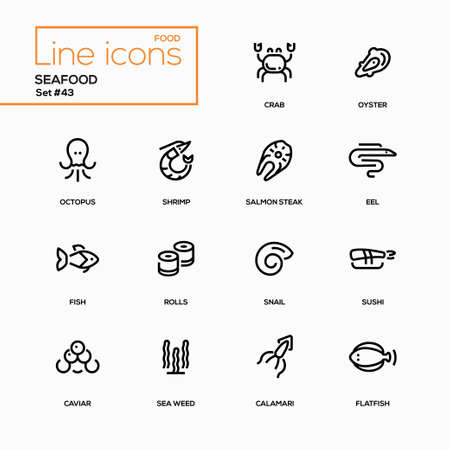 Seafood concept - line design icons set