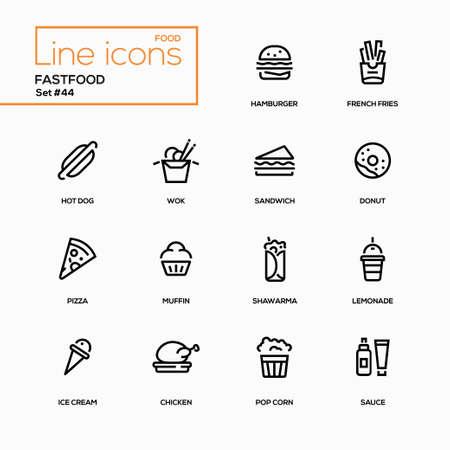 Fast-food concept - lijn ontwerp pictogrammen instellen