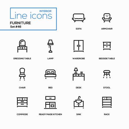 家具 - ラインのデザイン アイコンを設定  イラスト・ベクター素材