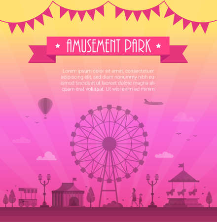 Amusement park - modern vector illustration with place for text Stok Fotoğraf - 87956736