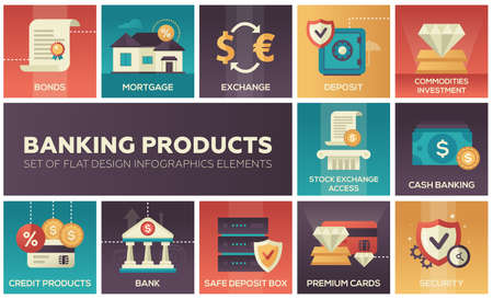 Banking products - set of design infographics elements.