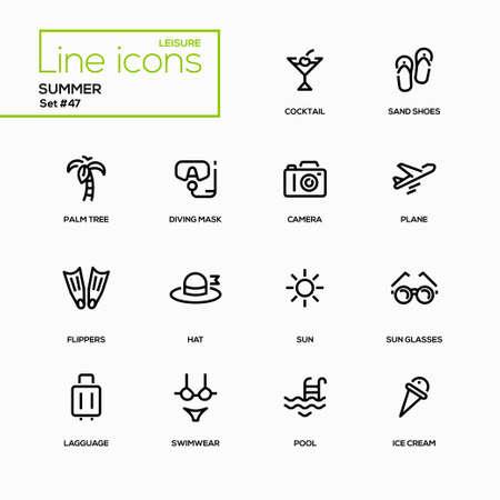 Zomer concept - lijn ontwerp pictogrammen instellen. Dingen, verbonden met het hete seizoen. Coctail, zand schoenen, palmboom, duikbril, camera, vliegtuig, zwemvliezen, hoed, zonnebril, bagage, badkleding, pool, ijs