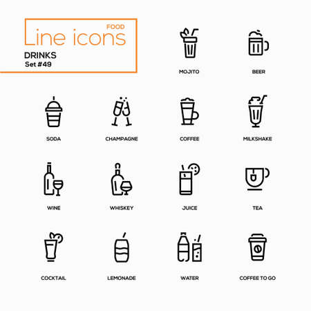 Food theme, alcohol and soft drinks - line design icons set. Perfect for your menu, bar, pub, cafe. Mojito, beer, soda, champagne, coffee to go, milkshake, wine, whiskey, juice, tea, lemonade, water