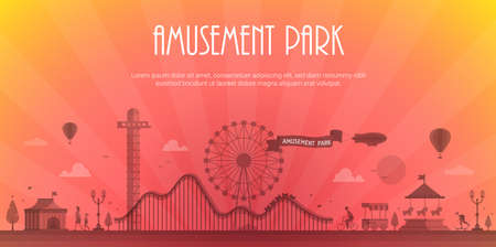 Amusement park - modern vector illustration with place for text. Landscape silhouette. Big wheel, attractions, benches, lanterns, trees, circus pavilion, carousel, people. Hot air balloon, airship Иллюстрация