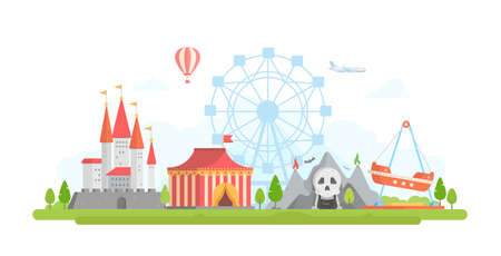 Amusement park - modern flat design style vector illustration. Lovely view with attractions, horror show, castle, airplane, big wheel silhouette, tent circus. Entertainment concept