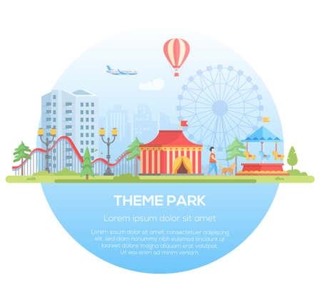 Themapark - moderne platte ontwerp stijl vectorillustratie in een rond frame met plaats voor tekst op stedelijke achtergrond. Stadsgezicht met attracties, circuspaviljoen, big wheel. Entertainment concept