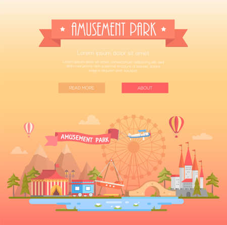 Amusement park - modern vector illustration on yellow background with place for text. Title on orange ribbon. Cityscape with attractions, circus pavilion, castle, mountains. Entertainment concept