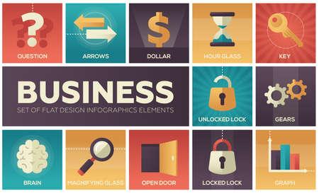 Business set of flat design elements