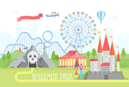 Amusement park - modern vector illustration on urban background. Lovely cityscape with horror attractions, circus pavilion, castle, big wheel, roller coaster, people. Entertainment concept