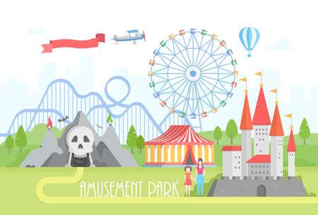 Parque de diversões - ilustração moderna do vetor no fundo urbano. Arquitetura da cidade bonita com atrações do horror, pavilhão do circo, castelo, roda grande, montanha russa, pessoa. Conceito de entretenimento Ilustración de vector