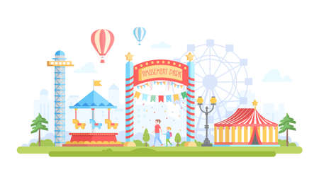 City with amusement park - modern flat design style vector illustration on urban background. Lovely view with attractions, merry-go-round, chapiteau, drop tower, big wheel. Entertainment concept Ilustração
