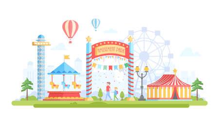 Stad met pretpark - moderne platte ontwerp stijl vectorillustratie op stedelijke achtergrond. Prachtig uitzicht met attracties, draaimolen, kapittel, valtoren, big wheel. Entertainment concept Stock Illustratie