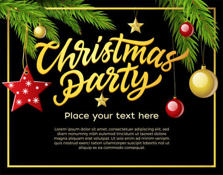 Christmas party - modern vector illustration with place for text. Hand drawn brush pen lettering on black background. Pine needle with balls, stars. Perfect as card, invitation, banner, flyer