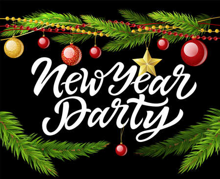 New Year party - modern vector realistic illustration with calligraphy text