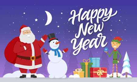 Happy New Year - modern cartoon characters illustration Stock fotó - 88068714