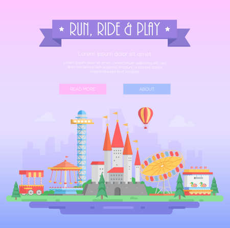 Run, ride and play - modern vector illustration
