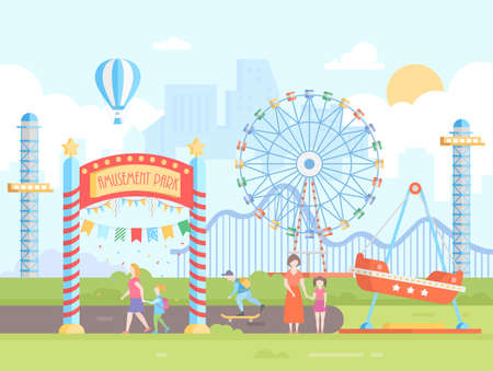 Amusement park, modern flat design style vector illustration. Illustration