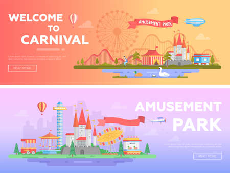 Amusement park - set of modern flat vector illustrations Ilustração