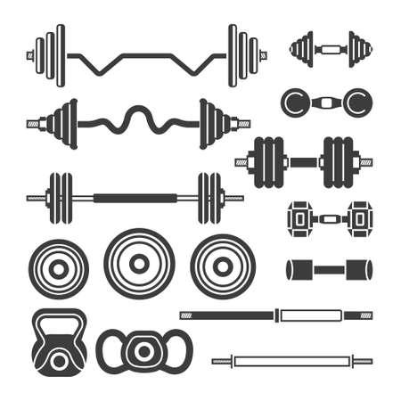 Set of gym equipment, modern vector monochrome isolated clip art. Illustration