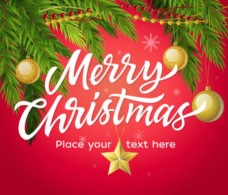 Merry Christmas - modern vector illustration with place for text on red background. White hand drawn brush pen lettering. Pine needle with golden balls. Perfect as card, invitation, banner, flyer 向量圖像