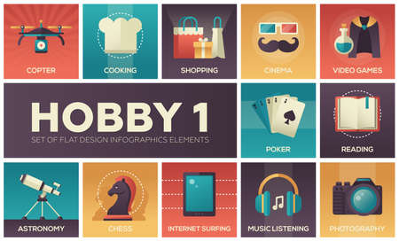 Hobby - set of flat design infographics elements. Copter, cooking, shopping, cinema, video games, poker, reading, astronomy, chess, internet surfing, music listening, photography