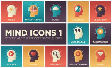 マインドアイコン-フラットデザインのインフォグラフィックス要素の近代的なセット。怒り、目的感、疑念、グリーンとビジネスの概念、リーダー