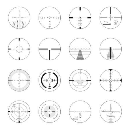 Set sniper bezienswaardigheden - moderne vector realistische geïsoleerde illustraties Stock Illustratie
