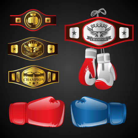 Set van MMA-objecten - moderne vector realistische geïsoleerde illustraties op een donkere achtergrond. Mixed Martial Arts-artikelen: bokshandschoenen, kampioensriemen, onderscheidingen met titels en emblemen. Blauwe en rode wanten
