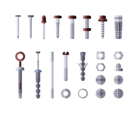 Metaalhardware - moderne vector geïsoleerde illustratie op witte achtergrond. Schroeven, bouten, moeren en klinknagels. Verzameling van metaalwaren, goederen en producten. Grijze en rode kleur