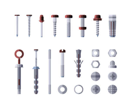 Metal hardware - modern vector isolated illustration on white background. Screws, bolts, nuts and rivets. Collection of metalware, goods and products. Grey and red color Ilustração
