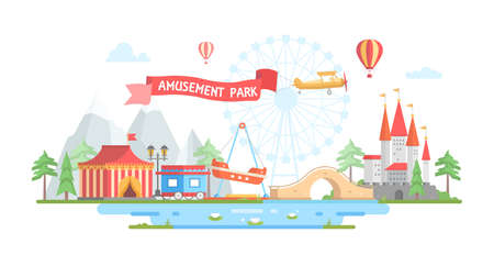 アミューズメント パーク - モダンなフラット デザイン スタイルのベクトル図と都市。
