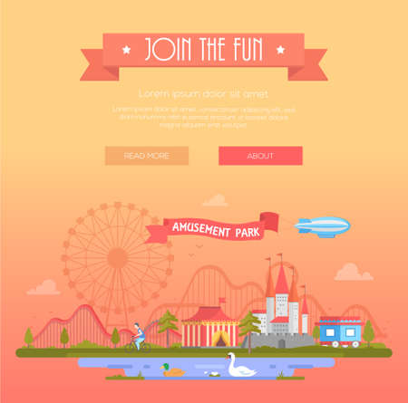 Join the fun - modern vector illustration with place for text.