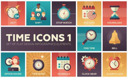 Time icons - modern set of flat design infographics elements Illustration