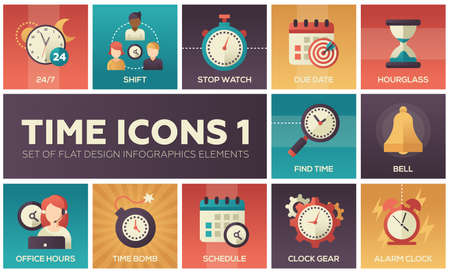 Tijd pictogrammen - moderne set platte ontwerp infographics elementen
