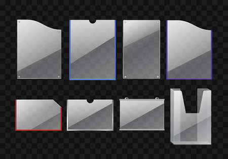 Set of folders - modern vector realistic isolated clip art
