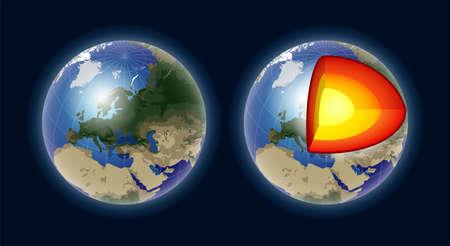 Estructura del núcleo de la tierra - ilustración aislada realista del vector moderno Ilustración de vector