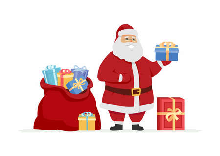 Happy Santa Claus with presents - cartoon character illustration