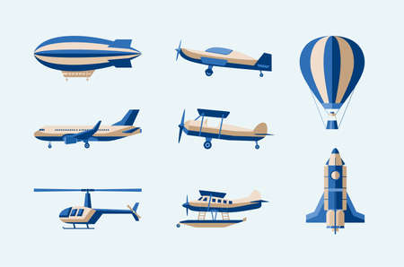 Aircraft - modern vector isolated set of objects on light background.