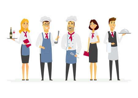 Restaurantpersoneel - de geïsoleerde illustratie van beeldverhaalmensen karakters op witte achtergrond.