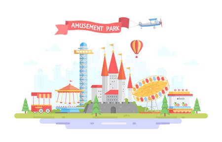 City with amusement park - modern flat design style vector illustration on urban background. Sign on red ribbon. Lovely view with merry-go-round, castle, airplane. Entertainment concept