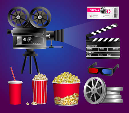 Set of cinema objects - modern vector realistic isolated clip art on blue and purple background. Popcorn box, cup for beverages with straw, film strip, ticket, clapper board, movie tape disks
