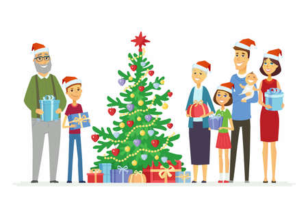 Happy family celebrates Christmas - cartoon people characters illustration Stok Fotoğraf