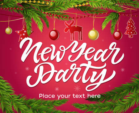 New Year party - modern vector realistic illustration with place for text