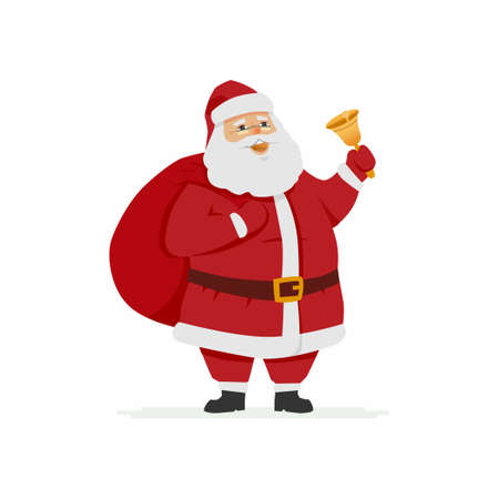 Happy Santa Claus ringing a bell, cartoon character illustration.