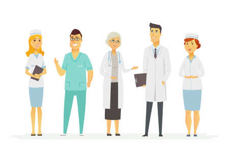 Doctors - cartoon people characters isolated illustration on white background. Smiling medical workers in a clinic: therapist, surgeon, nurse, physician standing, wearing overalls