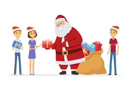 Happy Santa Claus and children - cartoon character isolated illustration